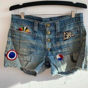 Vintage Patchwork Cutoff Lee Jean Shorts